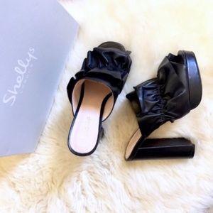 Shellys London Black Leather Platform Mule Sandals